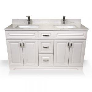 """60"""" white raised panel double sink vanity"""