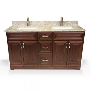 "60"" dark walnut raised panel double sink"
