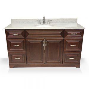 """60"""" dark walnut raised panel single sink vanity"""