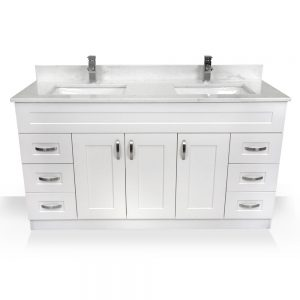 "60"" white shaker vanity"