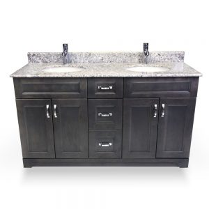 "60"" step shaker grey double sink vanity"
