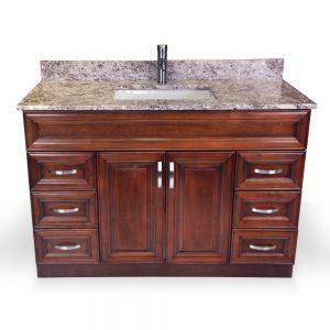 """48"""" light walnut raised panel vanity"""