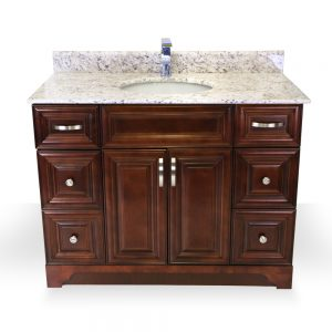 "42"" dark walnut raised panel vanity"