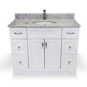 "42"" white raised panel vanity"