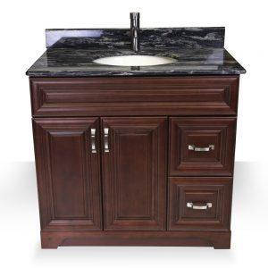 """36"""" dark walnut raised panel vanity"""