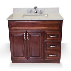 "36"" dark walnut raised panel vanity"