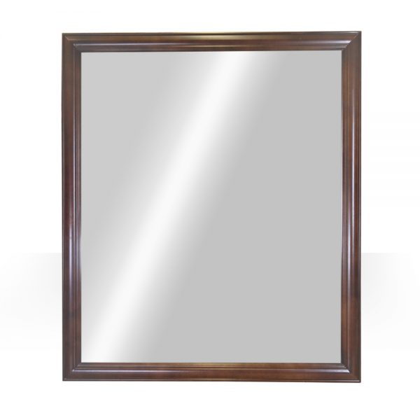 "42""x36"" dark walnut mirror"