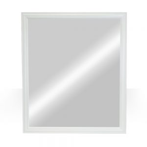 "42""x36"" white raised panel mirror"