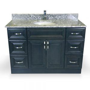 "48"" grey raised panel vanity"