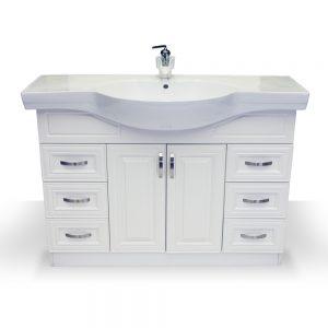 "48"" white raised panel euro vanity"