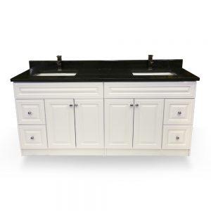 """72"""" White raised panel double sink vanity"""