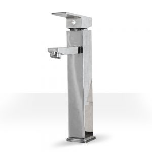 tall chrome square vessel sink faucet