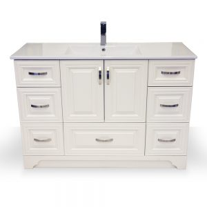 "48"" Porcelain Top White Narrow Vanity"