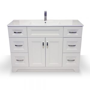 "48"" White Narrow Vanity with Porcelain Top"