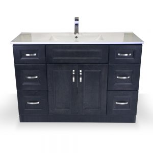 "48"" Charcoal Grey Narrow Vanity with Porcelain Top"
