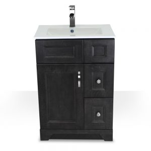 "24"" Charcoal Grey Narrow Vanity with Porcelain Top"