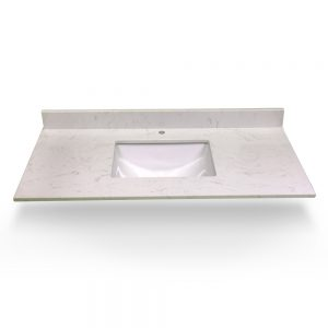 "61"" Dove White Single Square Sink With Quartz Counter Top"