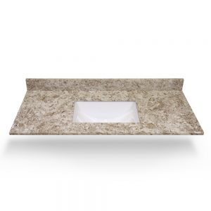 "49"" Giallo Ornamental Square Sink Quartz Counter Top"