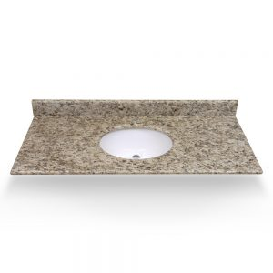 "49"" Dark Ornamental Granite Round Sink With Granite Counter Top"