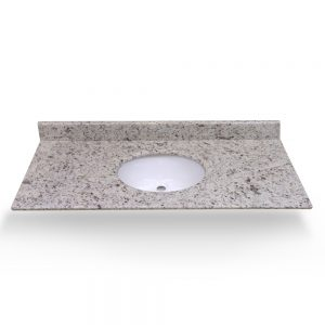 "61"" White Ornamental Single Round Sink With Granite Counter Top"
