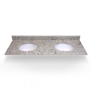"61"" White Ornamental Double Round Sink Granite Counter Top"
