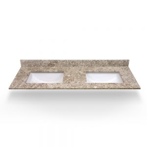 "61"" Giallo Ornamental Double Square Sink Quartz Counter Top"