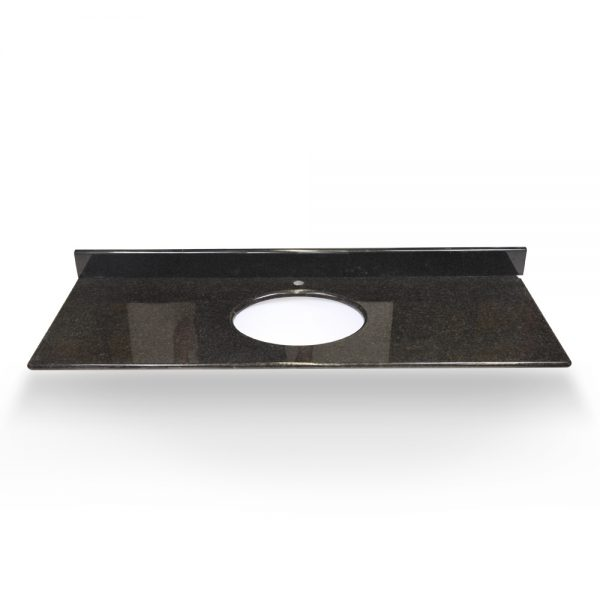 "31"" Black Pearl Round Sink With Granite Counter Top"