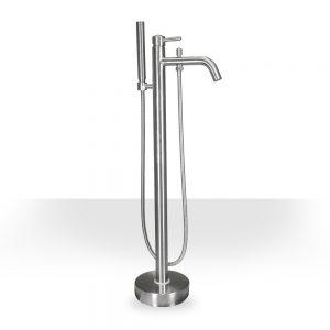 Brushed Nickel Round Freestanding Tub Filler
