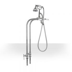 Antique Brushed Nickel Freestanding tub filler with shut-off valves