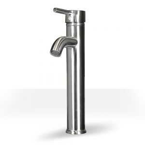 Tall Brushed Nickel Round Single Lever Vessel Faucet