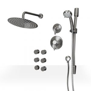 Round Brushed Nickel Shower Kit with Jets