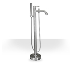 round brushed nickel freestanding tub filler