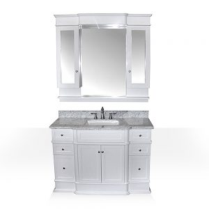 white vanity with marble top and hutch