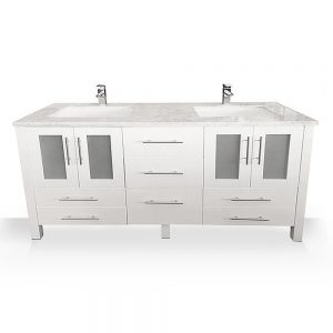 white modern double sink vanity