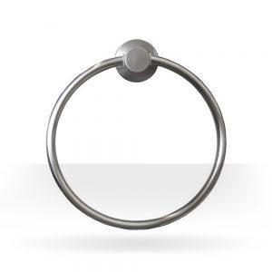 Round brushed nickel towel ring