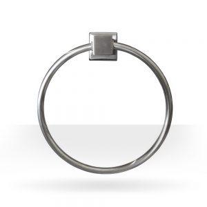 Square brushed nickel towel ring
