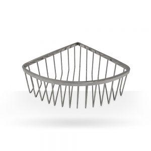 Brushed nickel shower basket