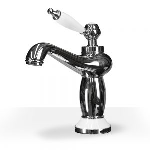 Chrome and white ceramic vanity faucet
