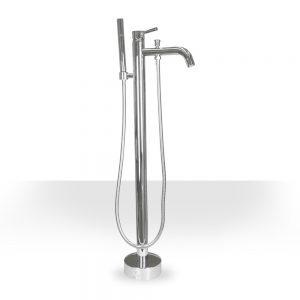 round chrome modern freestanding tub filler