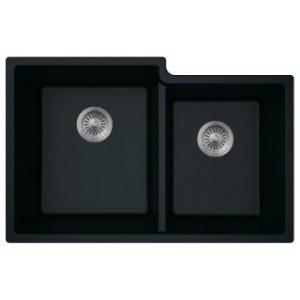 B303 Virtuo Granite Pearl Black Double Offset Bowl
