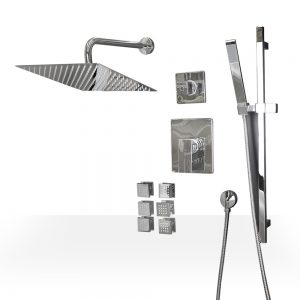 Square Chrome Shower Set with Body Jets