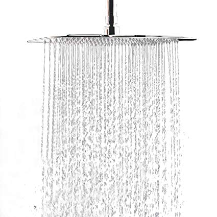 "12"" Square Chrome Rain Shower Head"